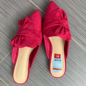 Bright pink suede leather mules size 8.5